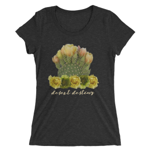 cactus-blossoms-yellow-text_mockup_Flat-Front_Charcoal-Black-Triblend